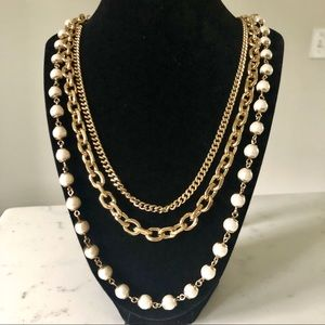 Ann Taylor | Multi-strand Gold and Pearl necklace